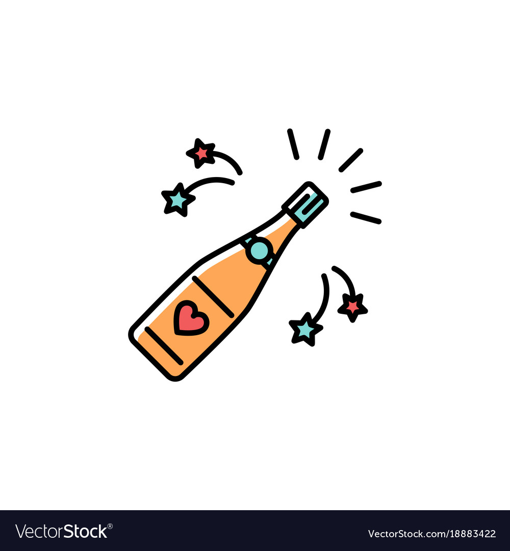 Champagne bottle colorful icon champagne bottle vector image