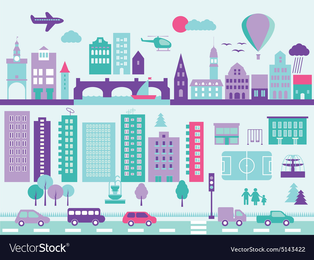 City modern elements set vector image