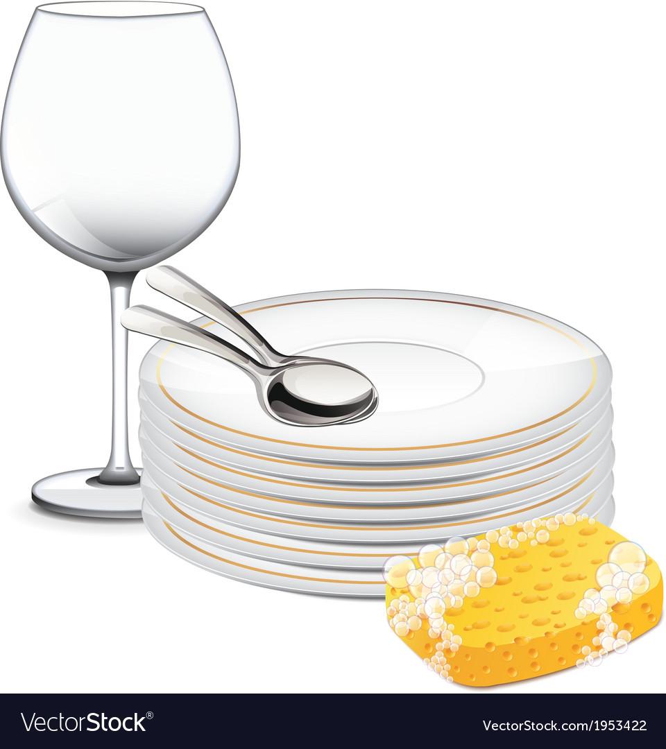 Best Washing Dishes Illustrations Royalty Free Vector: Clean Dishes Royalty Free Vector Image