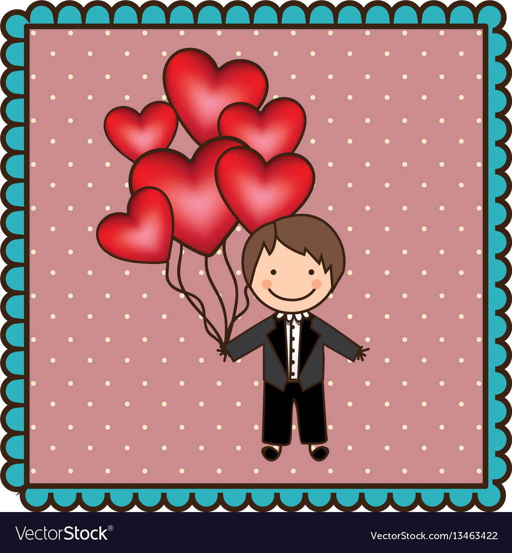 Emblem man with wedding suit and red balloons