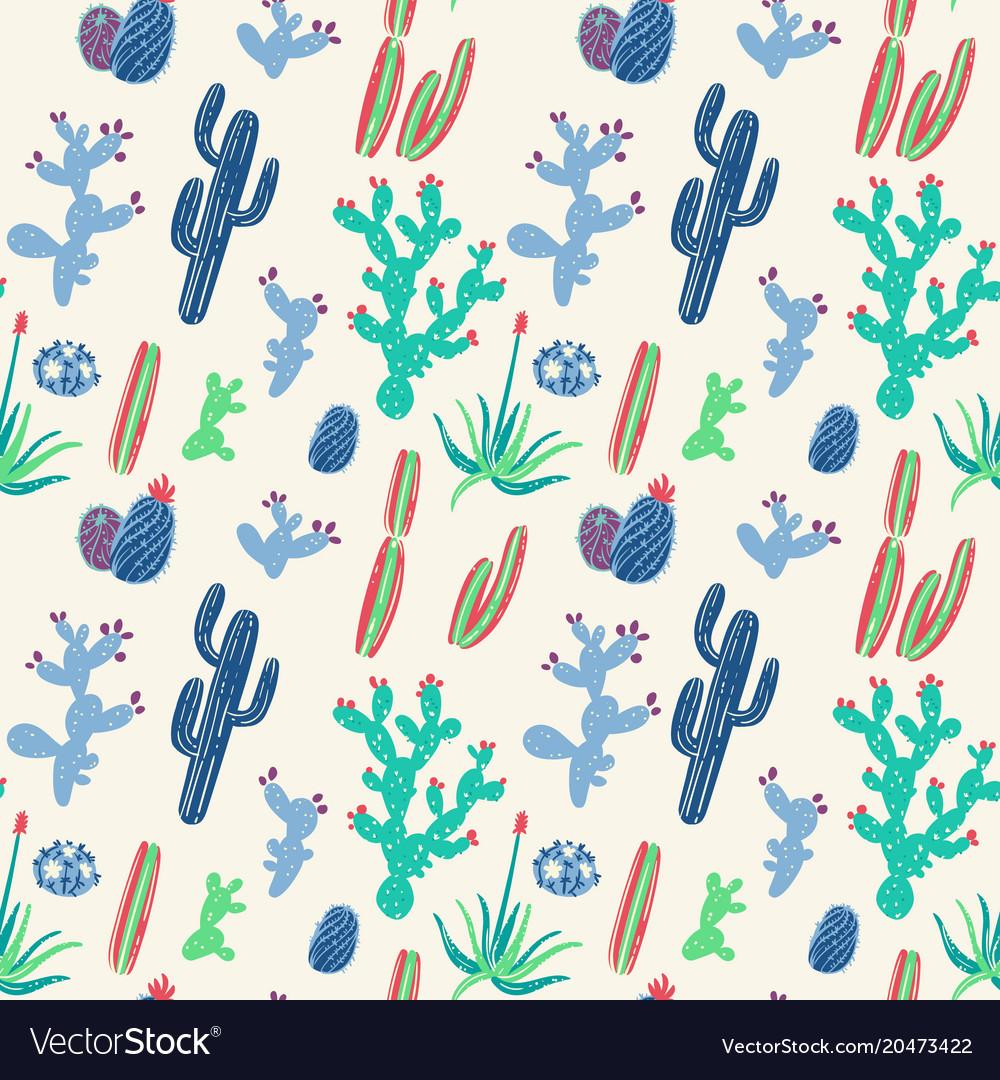 Hand drawn cacti seamless pattern