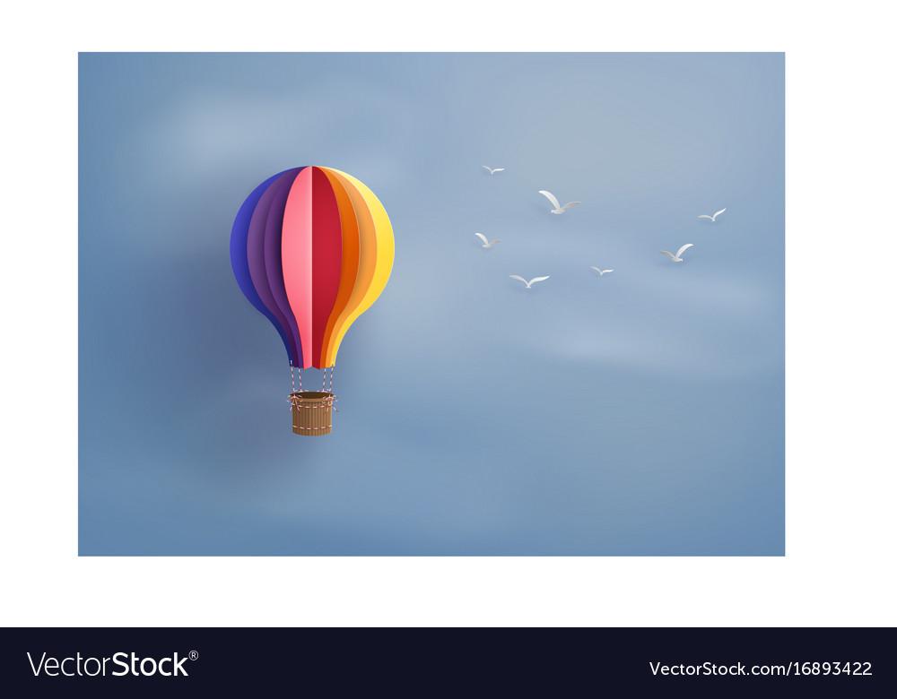 Hot air balloon and cloud vector image