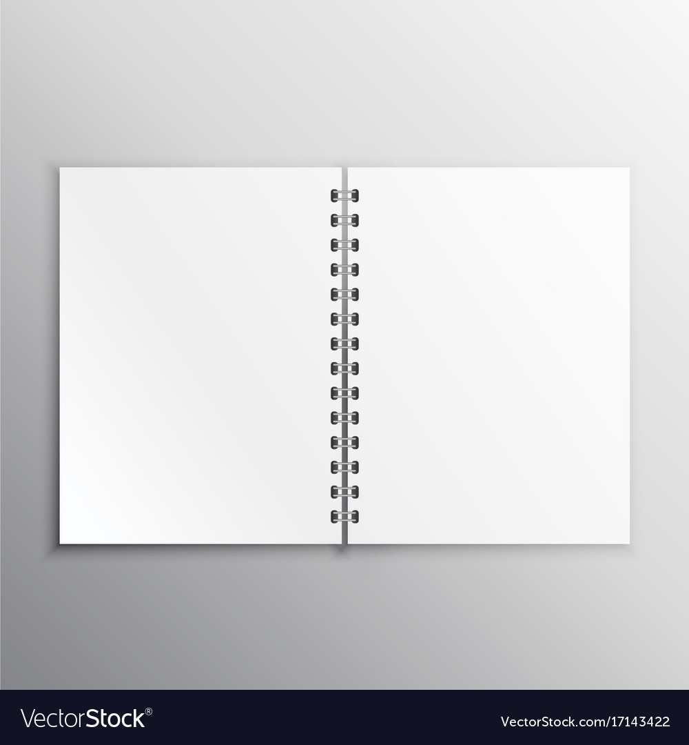 open book or diary mockup with spiral binding vector image