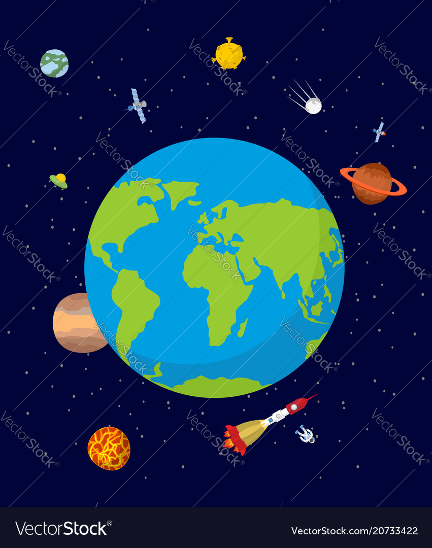 planet earth in space rocket and ufo stars and vector image