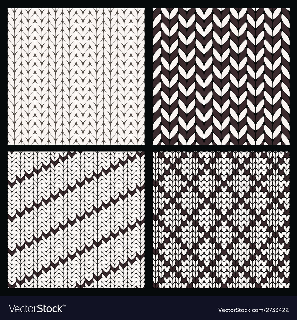 Set of Four Seamless Knitting Patterns