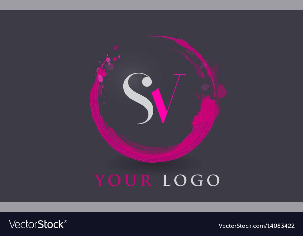 Sv letter logo circular purple splash brush vector image