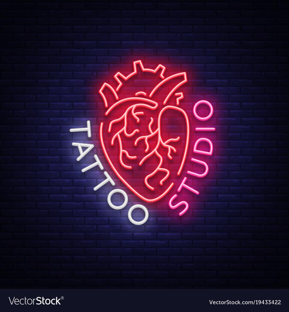 Tattoo Studio Logo Neon Sign Symbol Of Human Vector Image