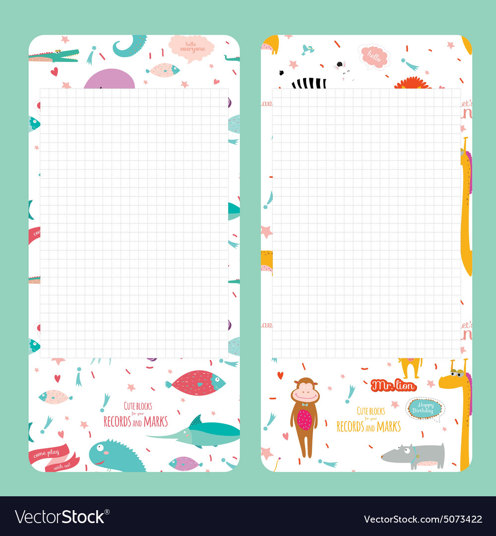 Template for school notebook diary and organizers