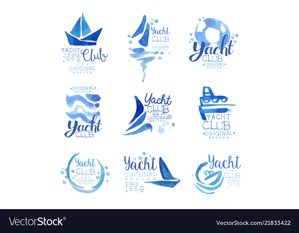 Yacht club since 1969 logo original design set