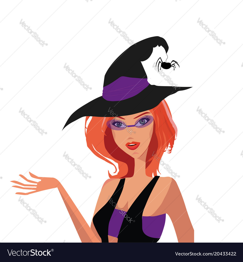Young redheaded adorable witch in hat with spider