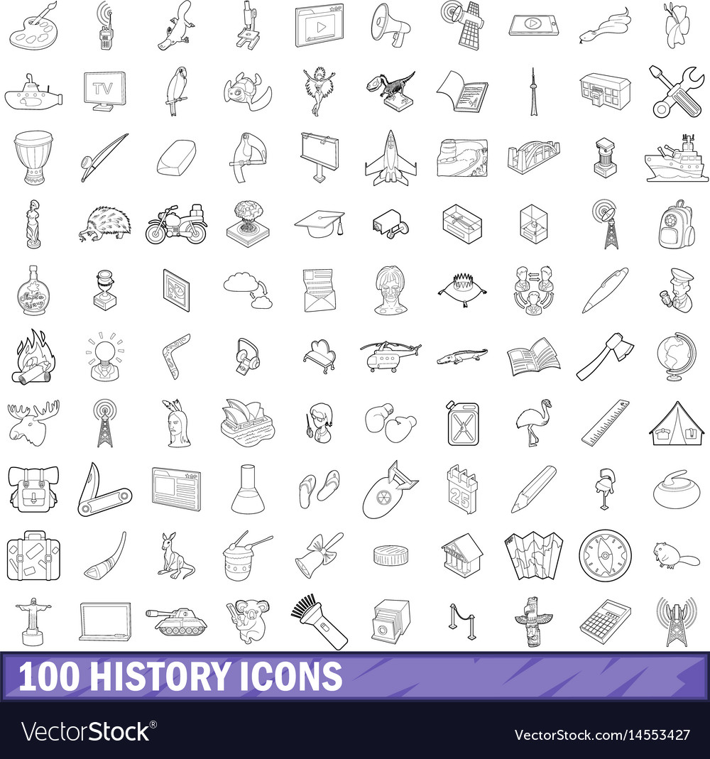 100 history icons set outline style