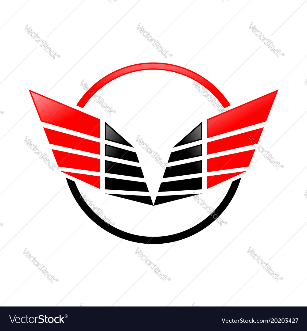 Abstract sharp wings ring red symbol logo design