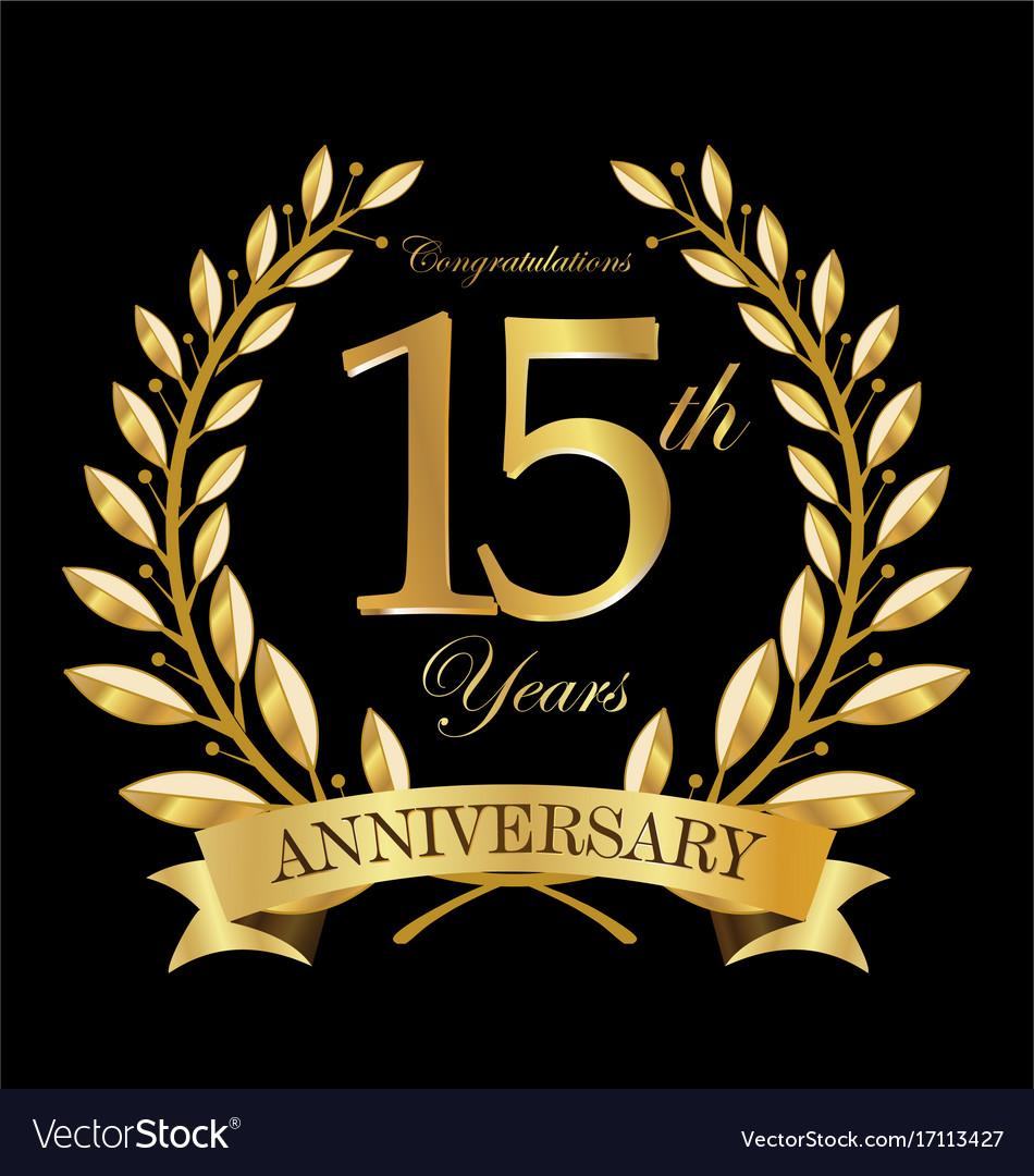 Anniversary golden laurel wreath 15 years 5