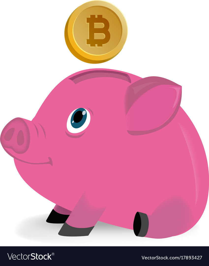 Bitcoins falling down in a piggy money box