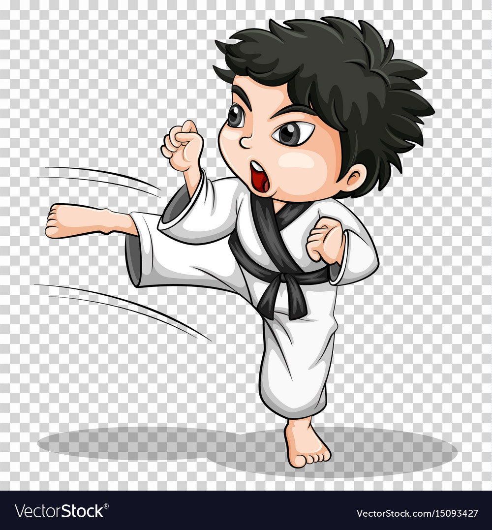 Boy doing karate on transparent background