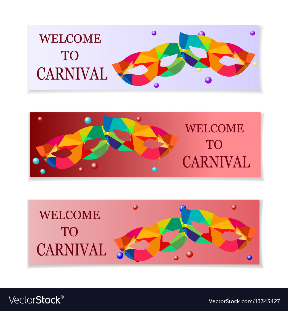 carnival masks flyers and invitation to the vector image