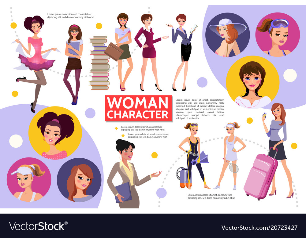Flat woman characters infographic concept