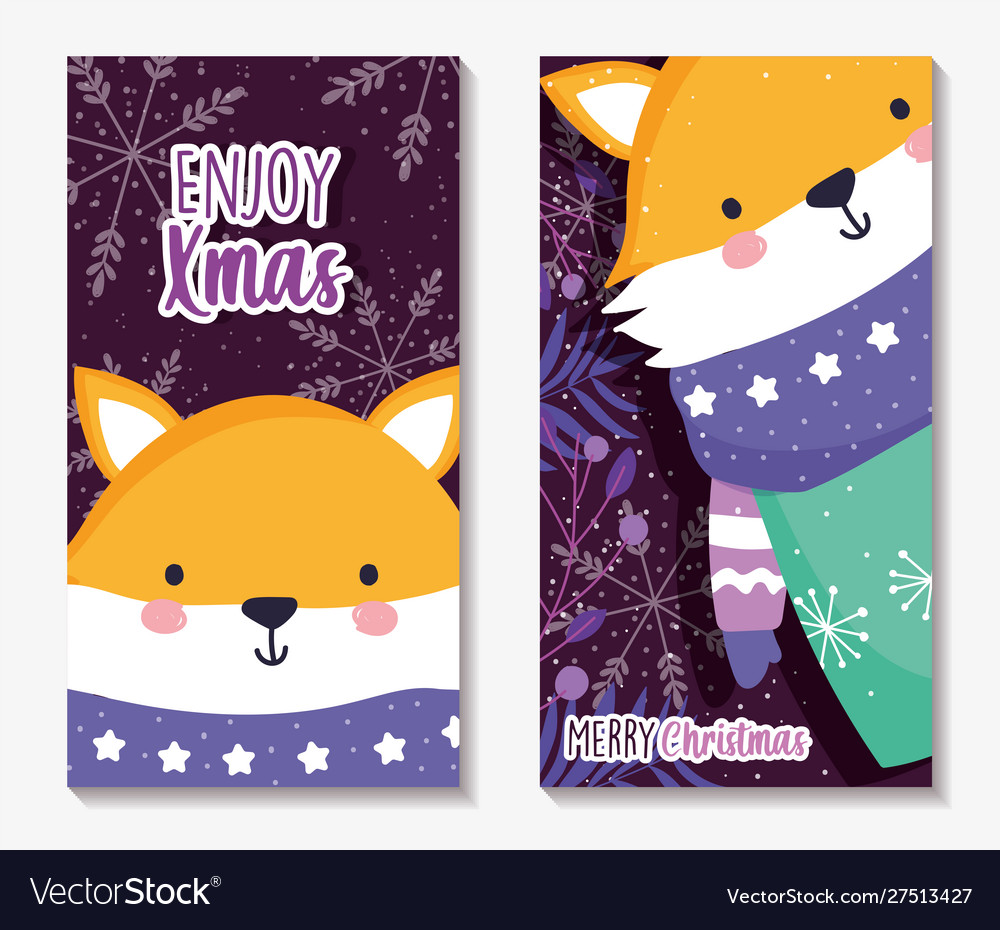 Fox with scarf and sweater merry christmas cards
