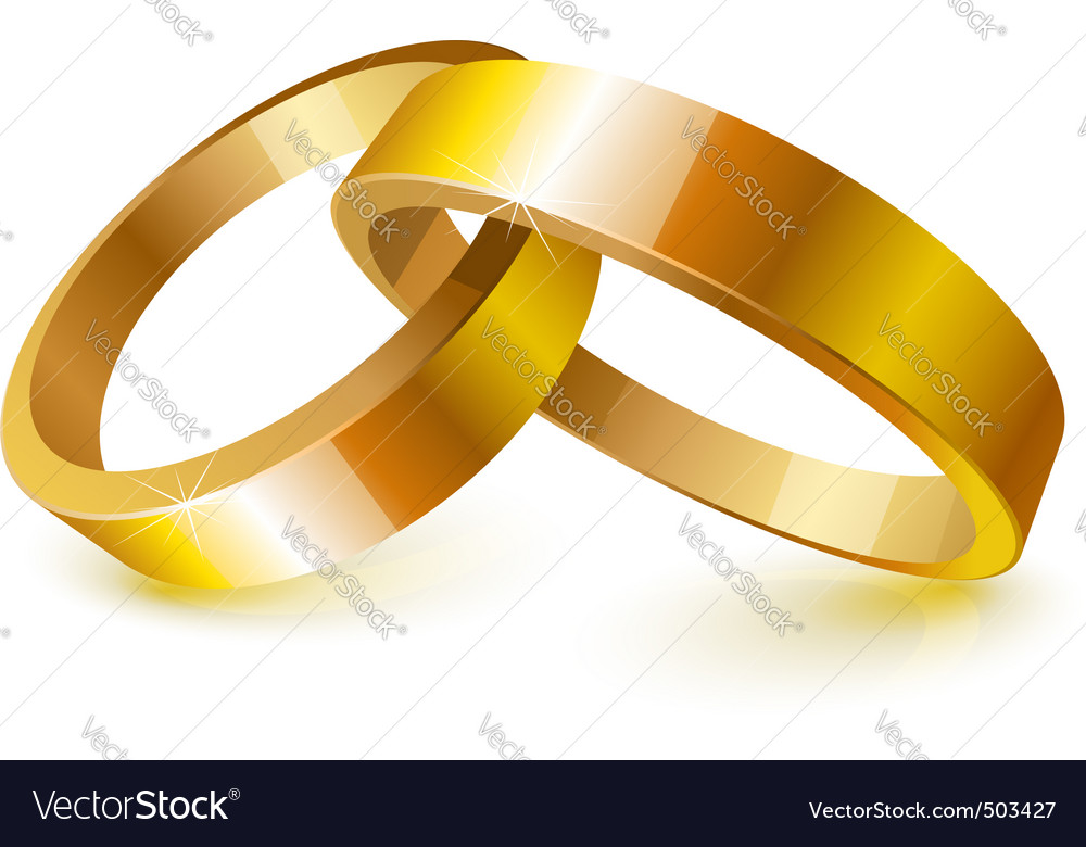Gold wedding rings Royalty Free Vector Image VectorStock