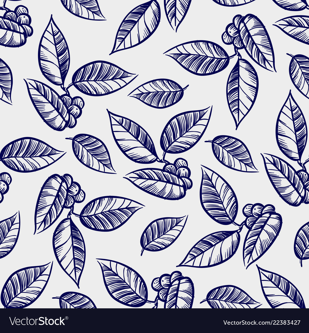 Hand drawn leaves with berries seamless pattern