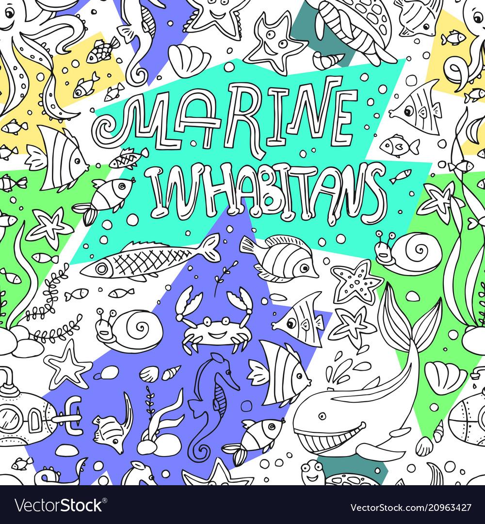 Marine inhabitans vector image