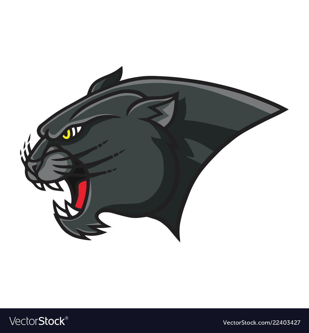 Panther head mascot retro logo design template