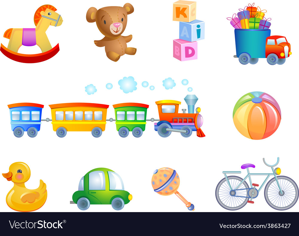 Set of 10 toys for kid vector image