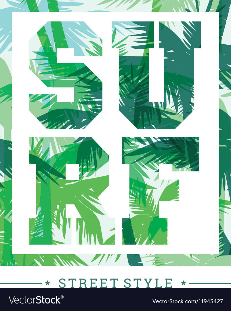 Tropical summer print with slogan for t-shirt