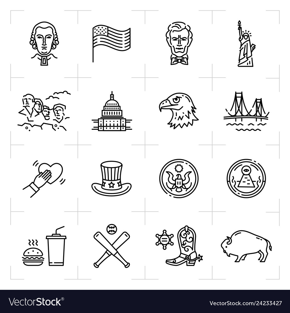Usa icon set american culture icons thin line
