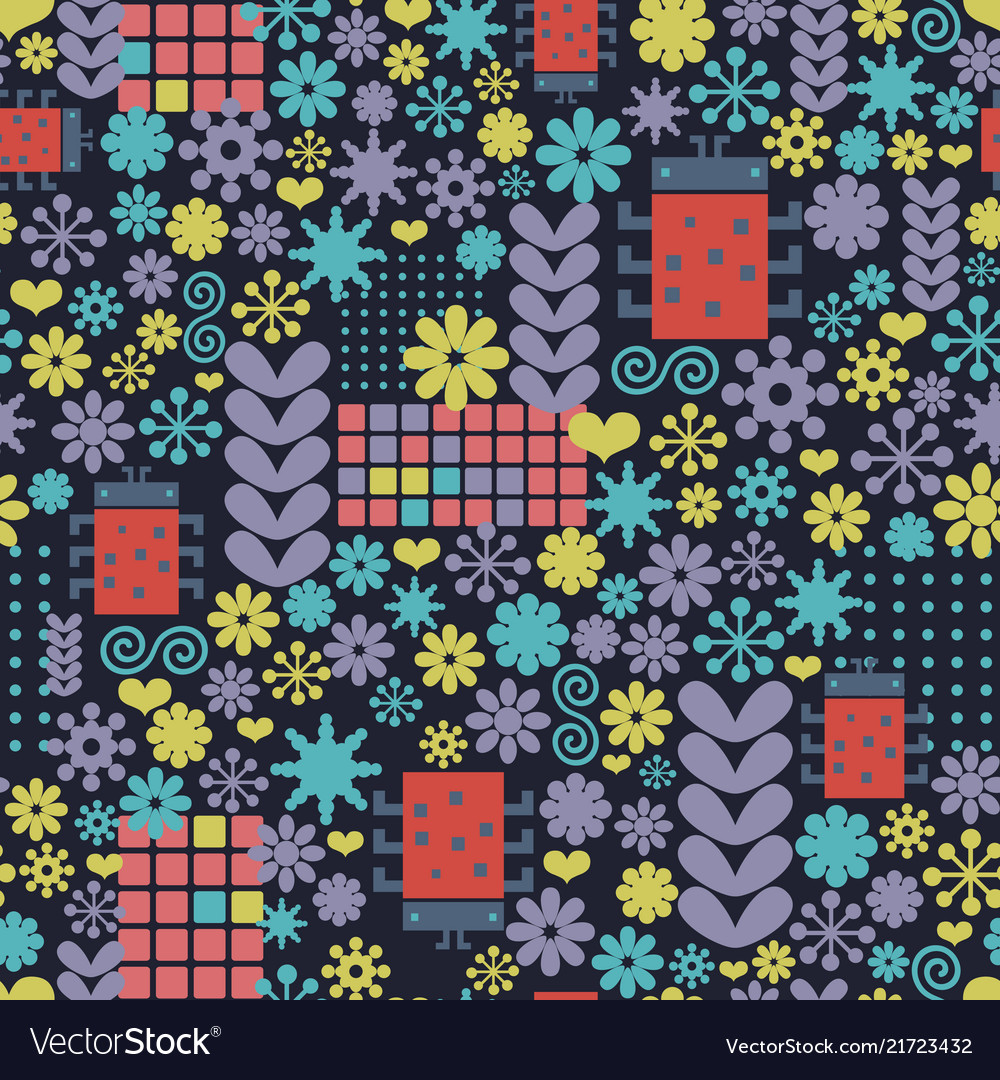 Abstract seamless pattern with geometric flowers