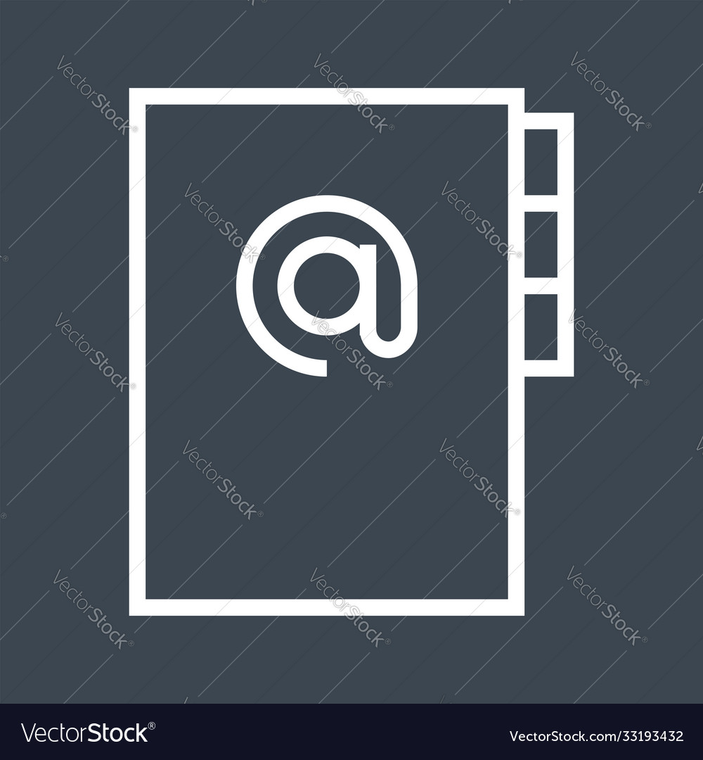 Address book thin line icon vector
