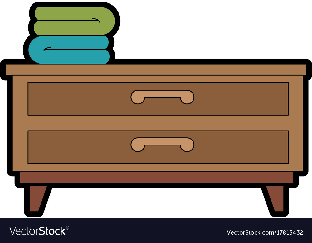 Bedroom drawer with clothes