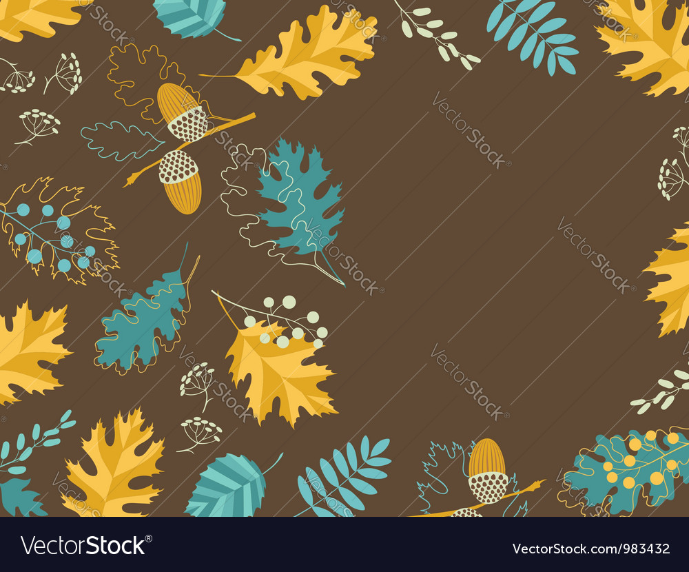 Brown fall card vector image