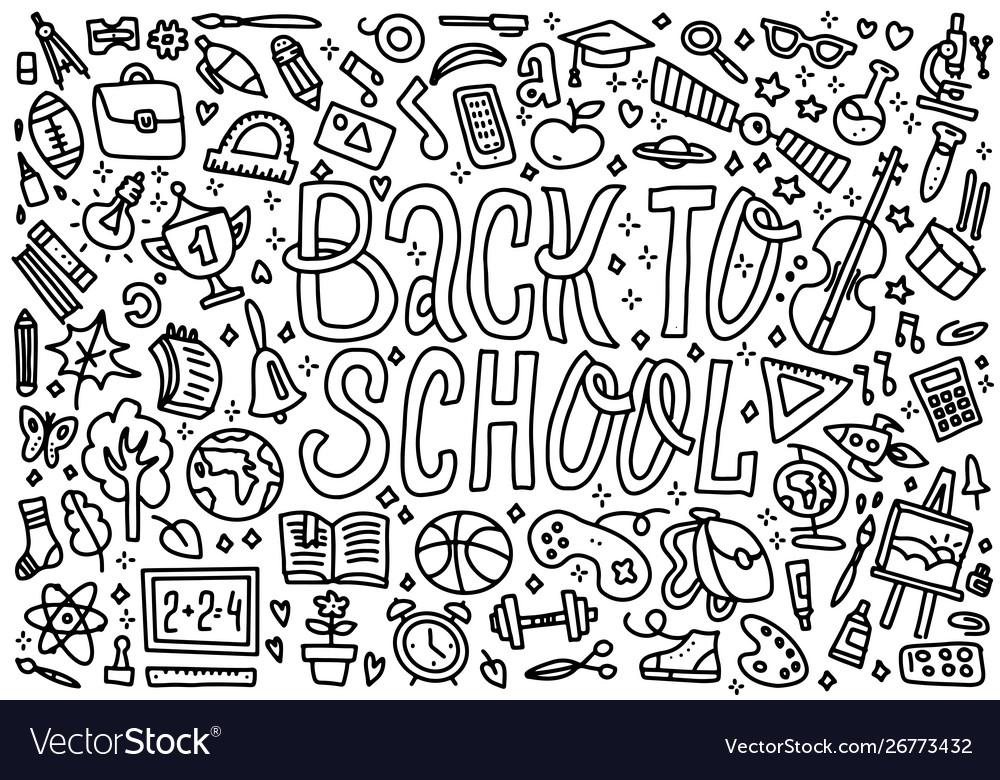 Cartoon cute doodles back to school word black