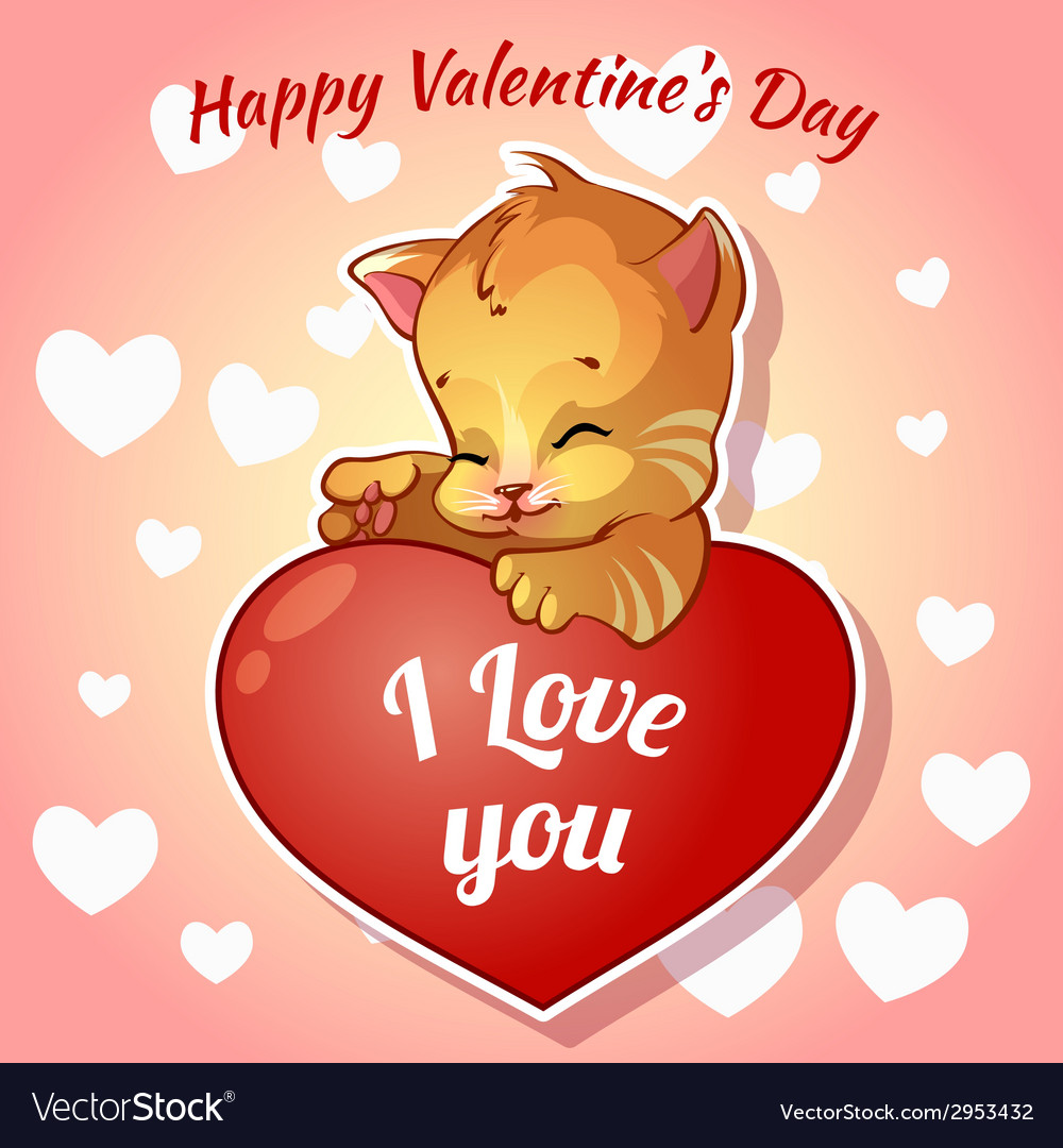 Cute red kitten with hearts for Valentines Day