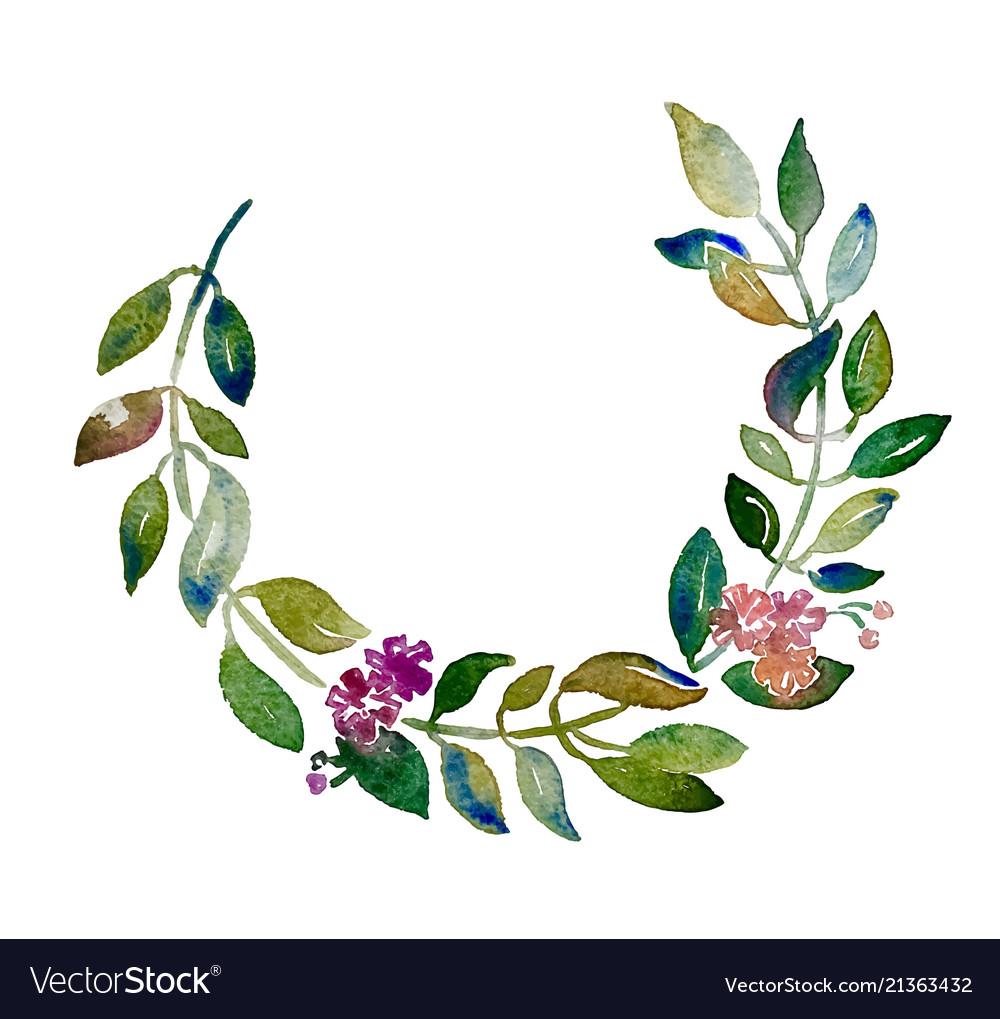 Handmade circle wreath watercolor branch