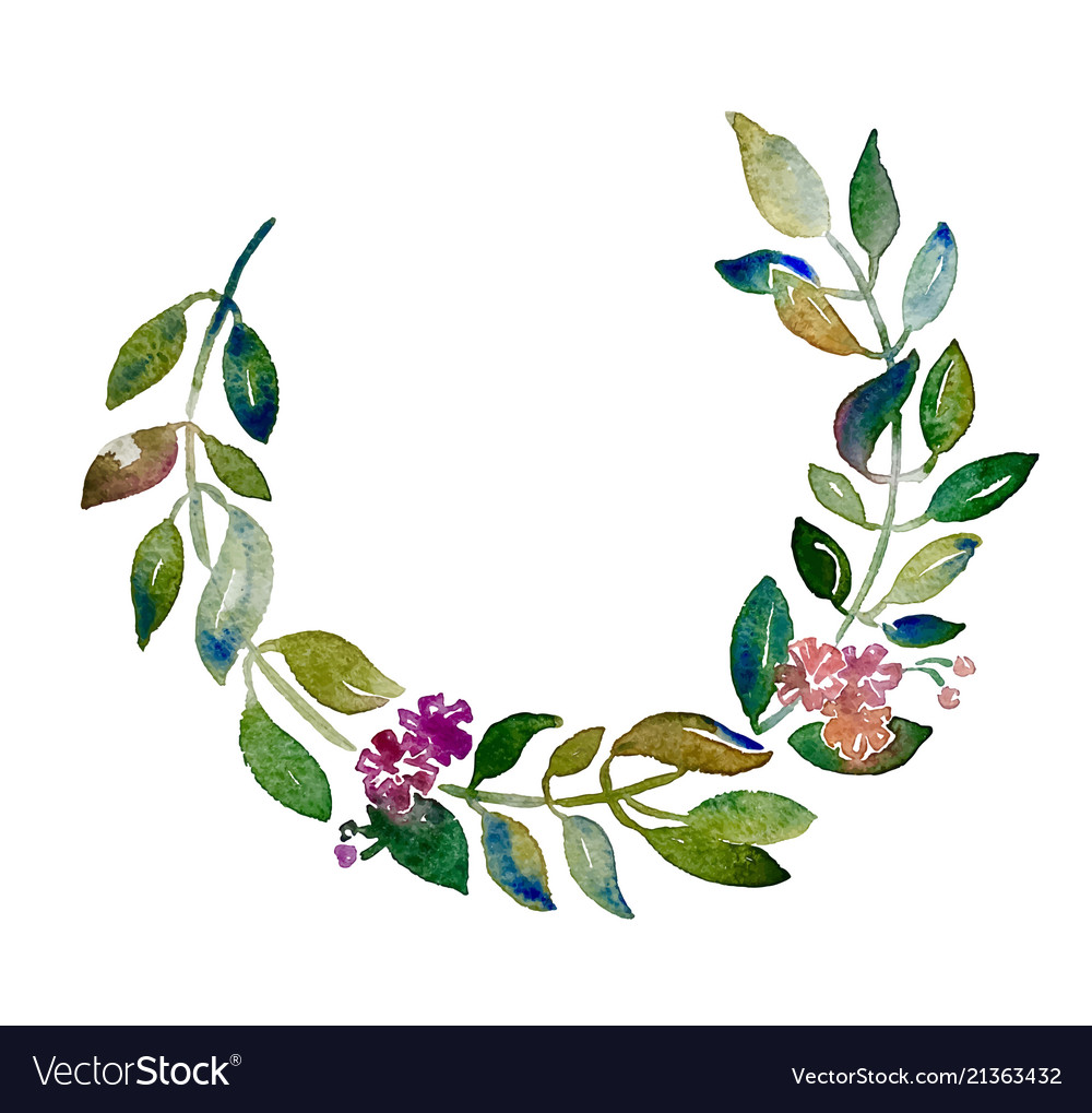 Handmade circle wreath watercolor branch with