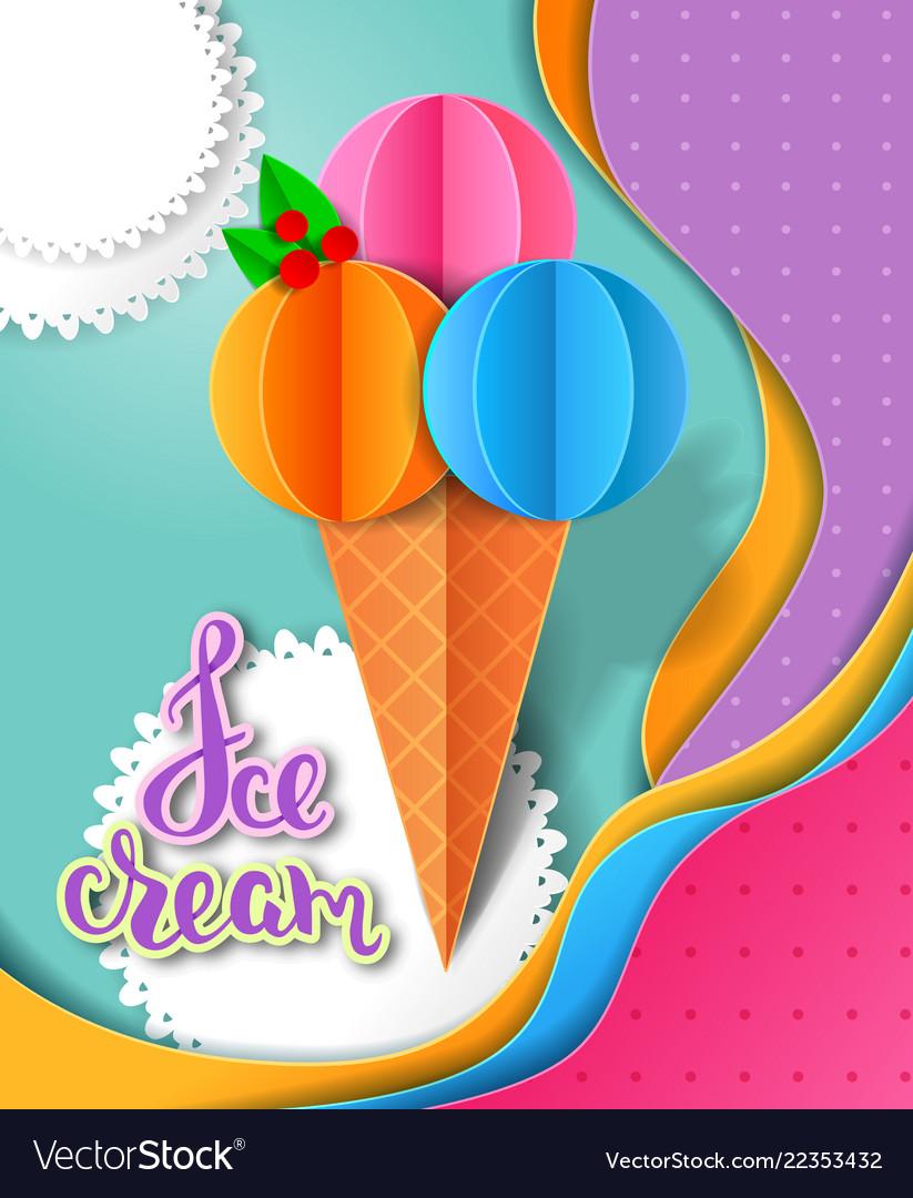 Ice cream design paper cut layers