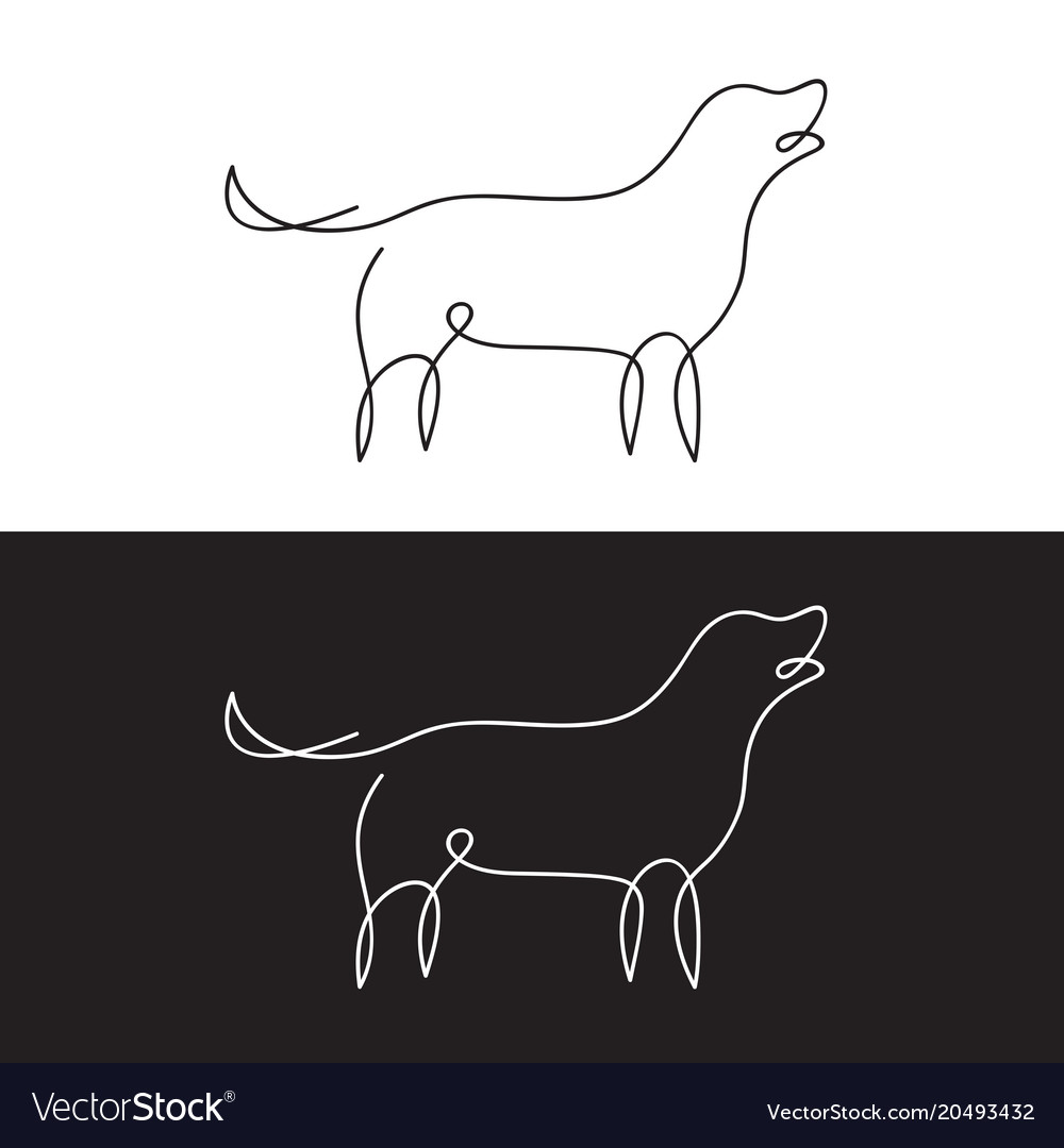 Line design silhouette of dog on white background