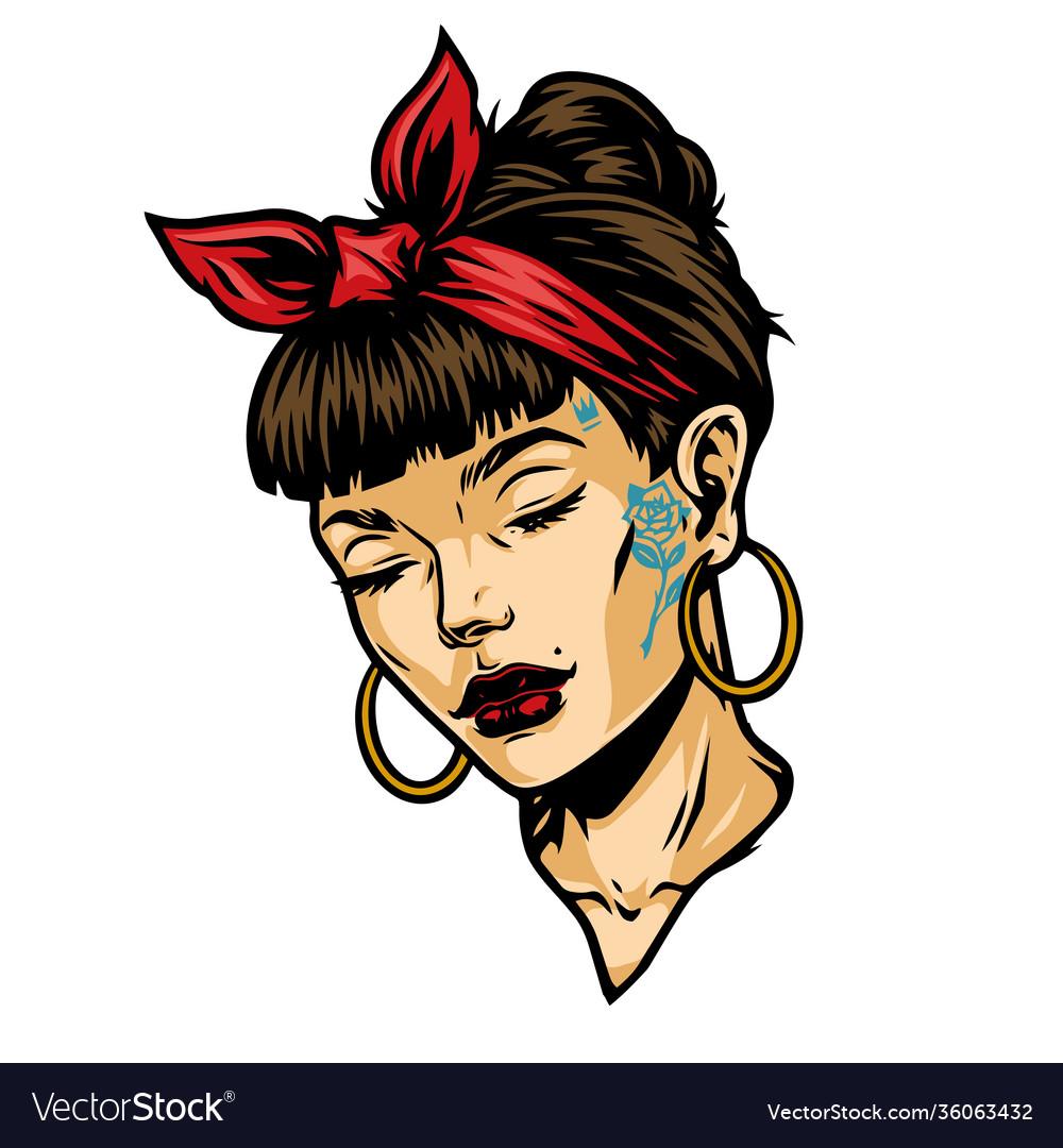 Pretty tattooed woman face