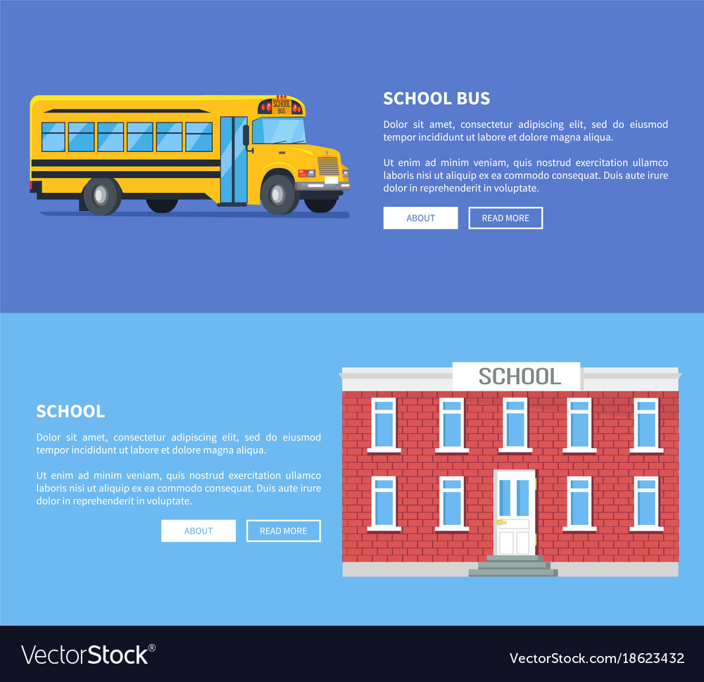 School bus and building set of posters