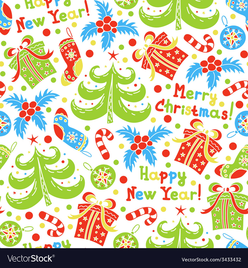 Seamless pattern Happy New Year and Christmas