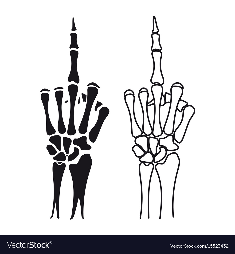 Skeleton hand shows middle finger Royalty Free Vector Image