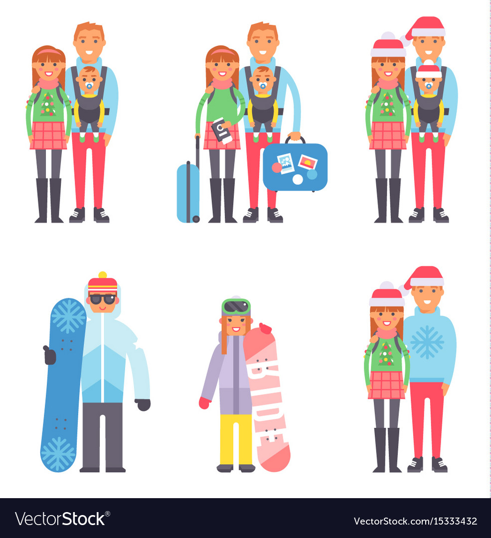 Travel Winter Vacation Time People Couples Vector Image