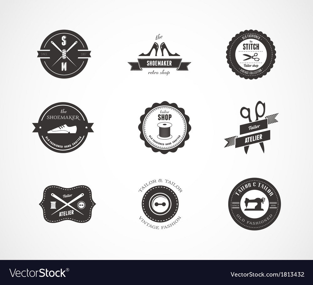Vintage sewing labels elements and badges vector image