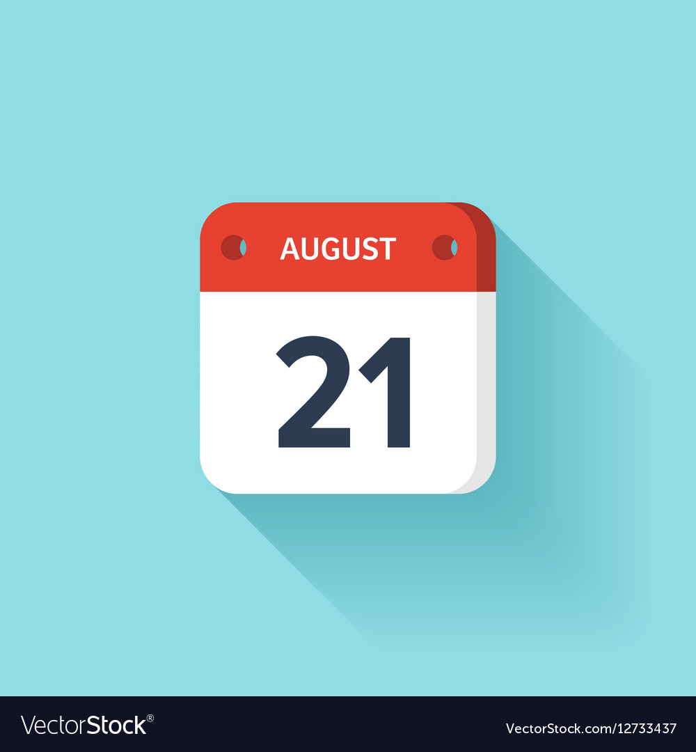 August 21 Isometric Calendar Icon With Shadow