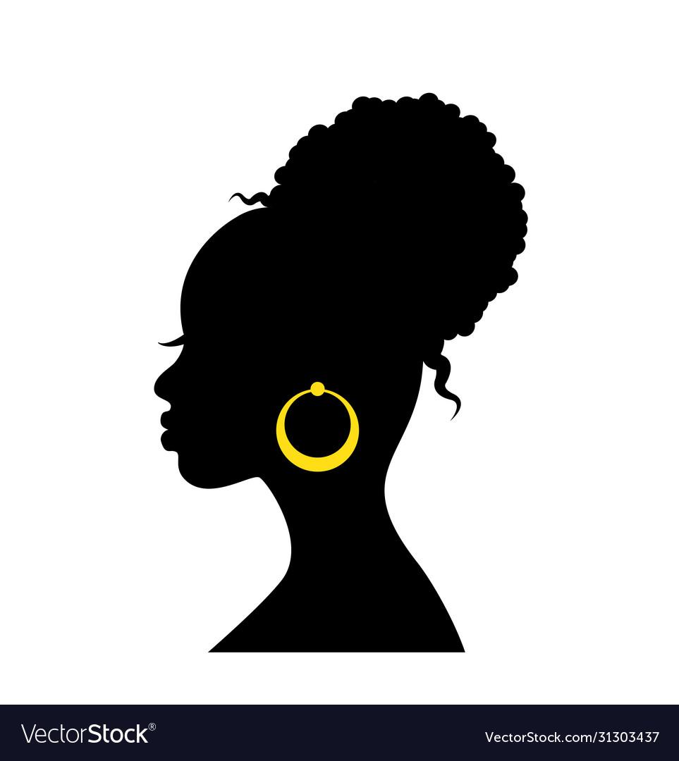 Black silhouette head an african woman