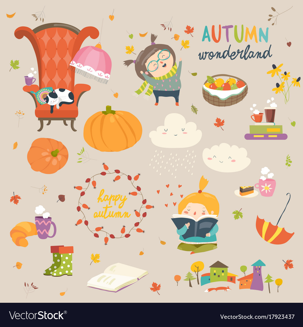 Cartoon autumn set