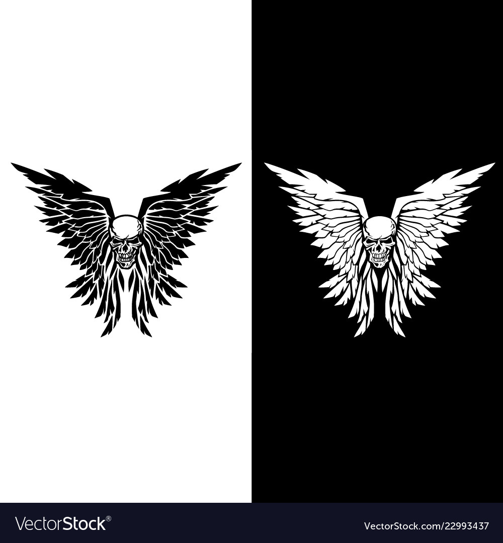 Classic skull and wings