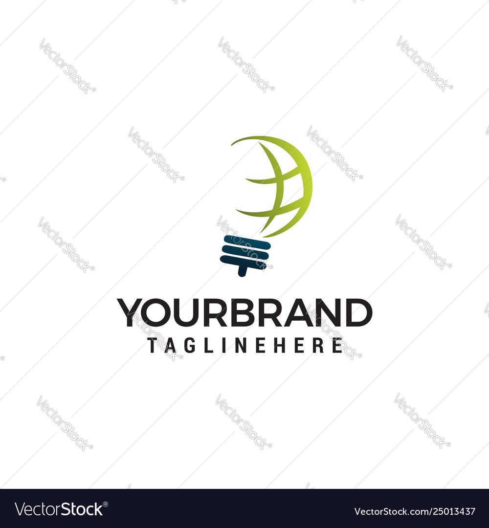 Creative bulb abstract logo design and globe sign